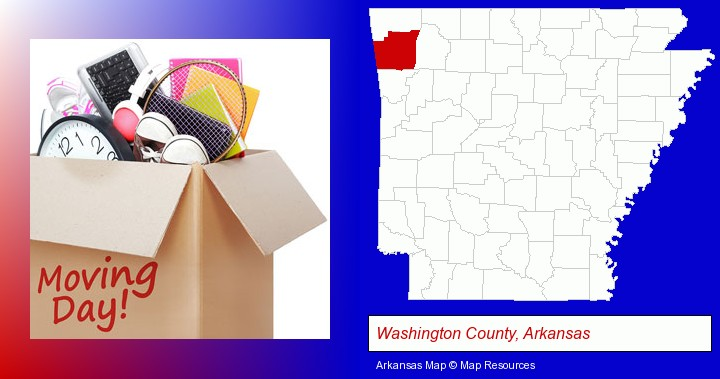 moving day; Washington County, Arkansas highlighted in red on a map