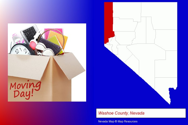 moving day; Washoe County, Nevada highlighted in red on a map