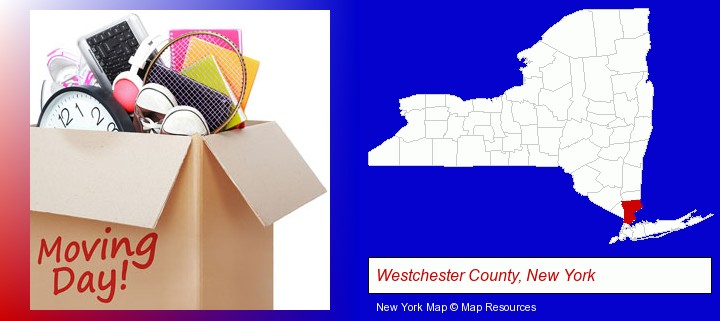 moving day; Westchester County, New York highlighted in red on a map