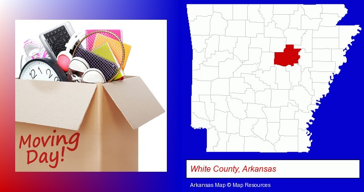 moving day; White County, Arkansas highlighted in red on a map
