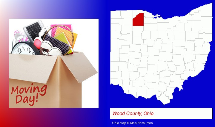 moving day; Wood County, Ohio highlighted in red on a map