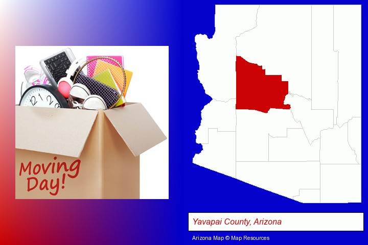 moving day; Yavapai County, Arizona highlighted in red on a map