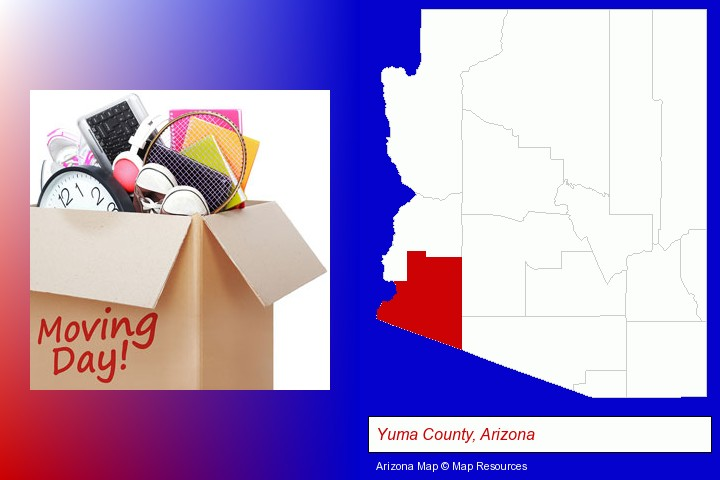 moving day; Yuma County, Arizona highlighted in red on a map
